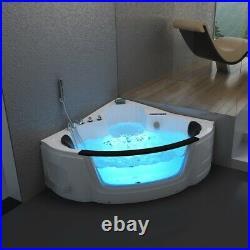 1350MM Whirlpool Bathtub Spa Corner Bath Thermostatic Jacuzzi with Tap 2 Person