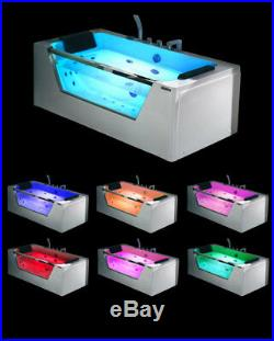 1690mm 22 JET Whirlpool Bath Shower Spa Jacuzzi Straight 2 person Double