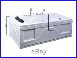 1690mm Whirlpool Bath Shower 17 JET Jacuzzi Straight Bathtub Spa Heater + Light