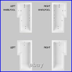 1700MM Right/Left Whirlpool L Shape Jacuzzi Bathtub Jets+Waste + Light +Screen