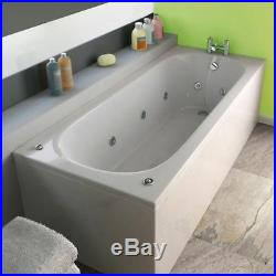 1700 x 700 mm Whirlpool Bath Single Ended Square 11 Jets LED Light Jacuzzi Style