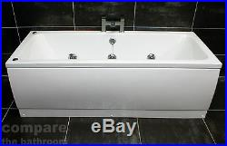 1700 x 700mm Double Ended Square Bath with Whirlpool Jacuzzi Spa Jets System