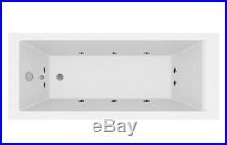 1700 x 700mm Whirlpool Bath Single Ended Square 10 Jets LED Lights Jacuzzi Style