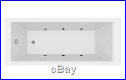 1700 x 700mm Whirlpool Bath Straight Single Ended Square 6 Jets Jacuzzi Style