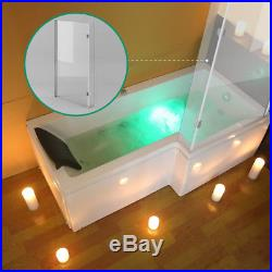 1700mm L / P Shaped Whirlpool Shower Bath Jacuzzis Bathtub With Screen L /R Hand