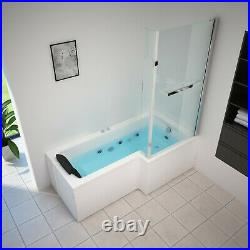 1700mm L Shape Jacuzzi Type Spa Right Hand Bath & Screen with Whirlpool Light