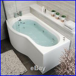 1700x900mm LH P Shape Whirlpool Jacuzzi Bath 10 Jet LED Lighting Screen & Panel