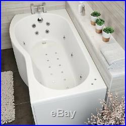 1700x900mm LH P Shape Whirlpool Jacuzzi Bath 26 Jet Bath Screen & Front Panel