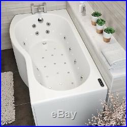 1700x900mm LH P Shaped Whirlpool Jacuzzi Bath 46 Jet LED Lighting Screen & Panel