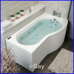 1700x900mm RH P Shape Whirlpool Jacuzzi Bath 34 Jet LED Lighting Screen & Panel