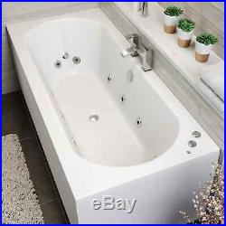 1800 x 800mm Whirlpool Bath Double Ended Curved 10 Jets LED Lights Jacuzzi Style