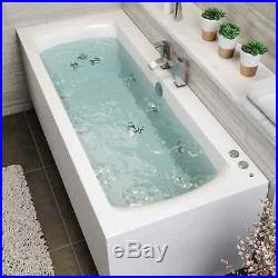 1800 x 800mm Whirlpool Bath Double Ended Square 10 Jets LED Lights Jacuzzi Style