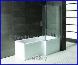 2020 RH Oceania 12 Jet L Shape Whirlpool Jacuzzi Shower Bath with Screen & Panel