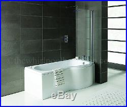 2020 RH Oceania 12 Jet P Shape Whirlpool Jacuzzi Shower Bath with Screen & Panel