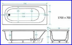 2021 NEW 1700 x 700 mm Whirlpool Bath Square 11 Jet LED Light Jacuzzi Spa Style