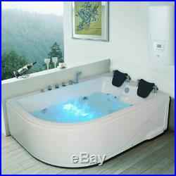 2 Person Whirlpool Bath Tub with Massage and Jacuzzi Jets Right Facing