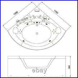 2 Person Whirlpool Bathtub Spa Bath Thermostatic Corner Jacuzzi 1350mm with Tap