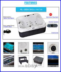 2 Seats+1 Lounger Luxury Hot Tub Spa Jacuzzi Outdoor Whirlpool Bath With 21 Jets