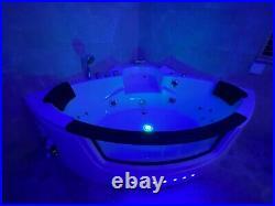 AMALFI WHIRLPOOL CORNER BATH-JACUZZI JETS-LED LIGHTS-1520mm x 1520mm-RRP £1999
