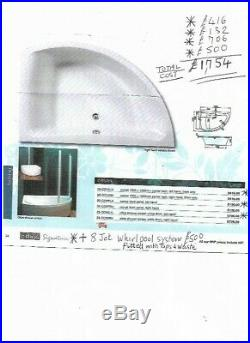 Bath jacuzzi whirlpool 8 jet massage corner bath 1500 X 1000 & Glass Screen