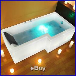 Bathroom L Shaped Whirlpool Shower 8 JET Spa Jacuzzis Square Bathtub SPA Bath