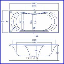 Carron Arc Duo 1800 x 800 12 Jet Whirlpool / Jacuzzi Bath