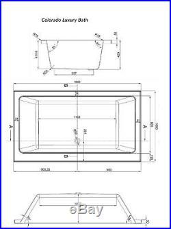 Collarado Inset Designer Spa Jacuzzi Bath 1800mm(L) x 1000mm(W) x 430mm(D)
