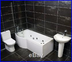 Compact Shower Bath Suite Inc Screen + Taps + Whirlpool Jacuzzi Type Option