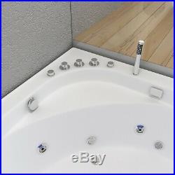 Corner Whirlpool Spa Shower Jacuzzis 8 Jets Double Ended Led Light Bathtub1500mm