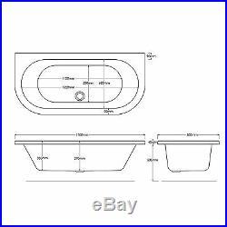 Decadence 1700 x 800mm 8 Jet Whirlpool / Jacuzzi Bath & LED Light
