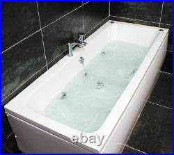 Double Ended Whirlpool Bath 6 Jet Jacuzzi Type Spa 1800 x 800mm Square Style