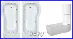 Hampton 11 Jet P Shape Whirlpool Shower Bath, Shower Screen, Panel. Jacuzzi Spa