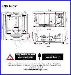 Insignia INS1057 Glass Steam Shower Enclosure whirlpool bath Jacuzzi Carbon