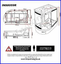 Insignia INS8059 RIGHT Carbon Glass Steam Shower Enclosure 1700mm cabin Jacuzzi