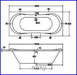 Jacuzzi Whirlpool Bath Spa 1800 x 800 mm Double Ended with 6 Jets