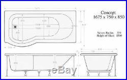 LH 23 Jet Whirlpool Spa P Shaped Shower Bath Trojan Concept + free LED Light