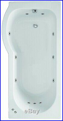 LH Oceana 11 Jet P Shape Whirlpool Jacuzzi Shower Bath with Screen & Panel