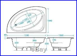 LH Supercast Orlando 28 Jet Whirlpool Spa Offset Corner Bath and Panel Jacuzzi