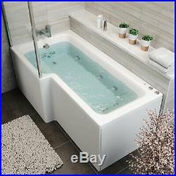 L Shape 1700 x 850mm LH Whirlpool Jacuzzi Bath Vitura 10 Jets Front Panel Screen