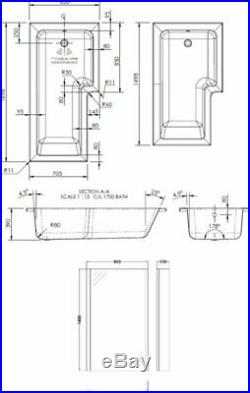 L Shape 1700 x 850mm RH Whirlpool Jacuzzi Bath Vitura 10 Jets Front Panel Screen