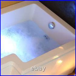 L Shape Jacuzzi Type Spa Right Hand Bath & Screen with Whirlpool Light 1700MM