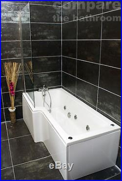 L Shape Whirlpool Shower Bath Jacuzzi Style Jets with Square Bath Screen Chrome