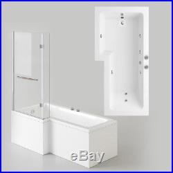 L Shaped Jacuzzis Shower SPA Bath Straight Bathtub Shower Screen & Towel Rail