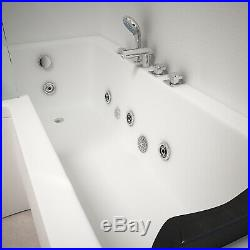 L Shaped Left Hand Whirlpool Shower Spa Jacuzzis Square Bathtub 8 JET SPA Bath