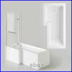 L Shaped Shower Bath Left Hand Whirlpool & jacuzzi Bathtub Screen 1700mm tub
