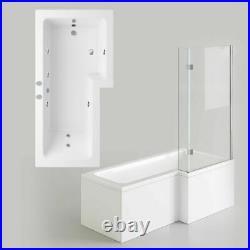 L Shaped Shower Bath Right/Left Hand Whirlpool/jacuzzi Bathtub Screen 1700 tub