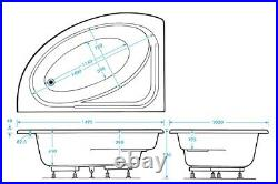 Miami 12 Jet Whirlpool Bath Offset Corner Design White Acrylic Jacuzzi Spa