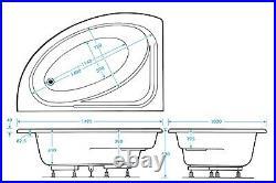 Miami 24 Jet Whirlpool Spa Offset Corner Bath Right Hand White Jacuzzi Spa