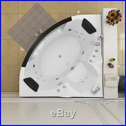 Modern 2019 Whirlpool Corner Bathtub Jacuzzis Massage Jets 2 Person 6155 White