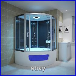 Modern Hydro Corner Steam Shower Cabin Cubicle With Whirlpool Jacuzzis Bathtub